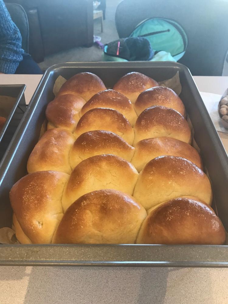 Parker House rolls after baking